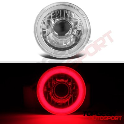Jeep Wrangler 1997-2006 Red Halo Tube Sealed Beam Projector Headlight Conversion