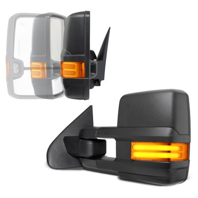 GMC Sierra 2014-2018 Power Folding Towing Mirrors Tube Lights