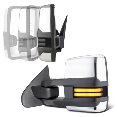 Chevy Silverado 2500HD 2015-2019 Chrome Power Folding Towing Mirrors Smoked Tube Lights