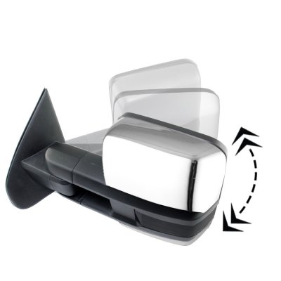 Chevy Silverado 2014-2018 Chrome Power Folding Towing Mirrors Smoked LED DRL Lights