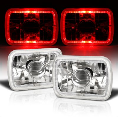 GMC Sierra 1988-1998 Red Halo Sealed Beam Projector Headlight Conversion