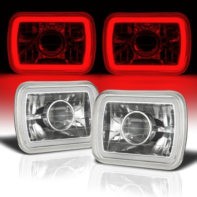 Ford F250 1999-2004 Red Halo Tube Sealed Beam Projector Headlight Conversion