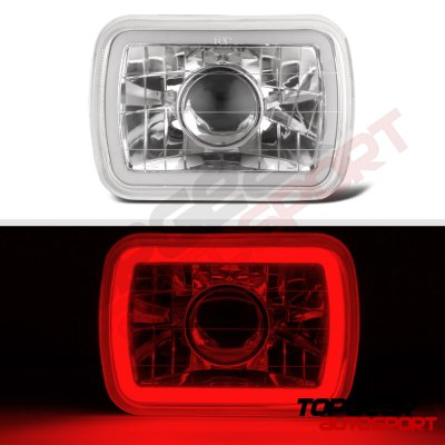 Dodge D50 1979-1980 Red Halo Tube Sealed Beam Projector Headlight Conversion