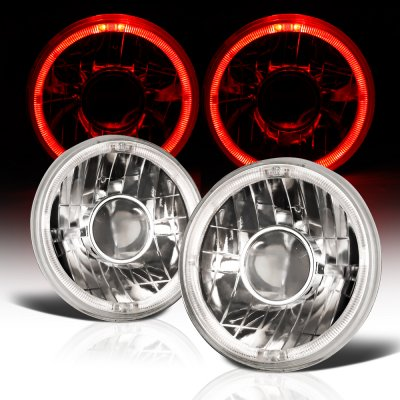 Jeep Wrangler 1997-2006 Sealed Beam Projector Headlight Conversion Red Halo