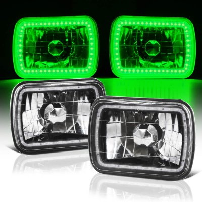 GMC Sierra 1988-1998 Green LED Halo Black Sealed Beam Headlight Conversion