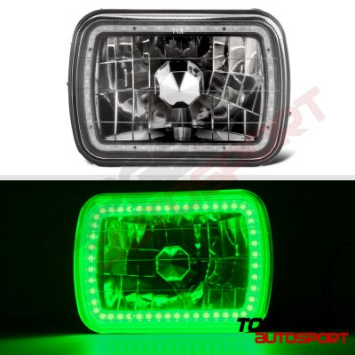 Jeep Wagoneer 1979-1984 Green LED Halo Black Sealed Beam Headlight Conversion
