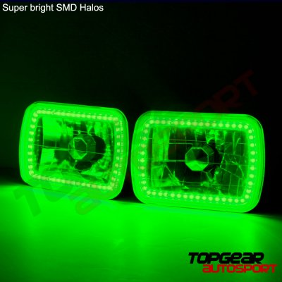 Toyota Supra 1981-1993 Green LED Halo Black Sealed Beam Headlight Conversion