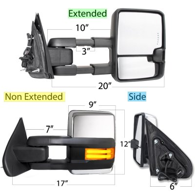 Chevy Silverado 2014-2018 Chrome Power Folding Towing Mirrors LED DRL Lights