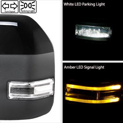 Ford F250 Super Duty 2008-2016 Glossy Black Towing Mirrors LED Lights Power Heated