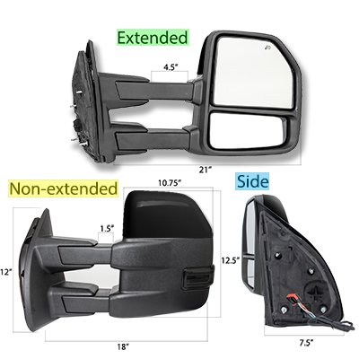 Ford F250 Super Duty 2017-2019 Glossy Black Power Heated Towing Mirrors Smoked LED Lights