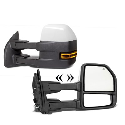 Ford F250 Super Duty 2017-2021 White Power Heated Towing Mirrors Smoked LED Lights