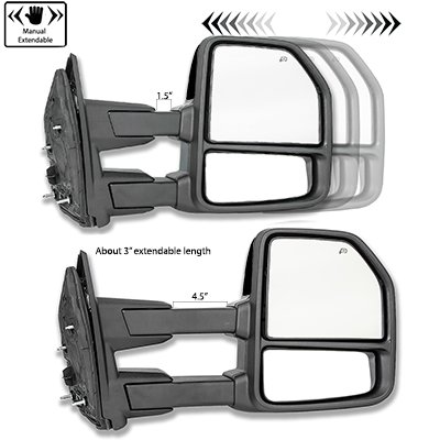 Ford F250 Super Duty 2017-2020 White Power Heated Towing Mirrors Smoked LED Lights
