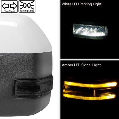 Ford F250 Super Duty 2017-2019 White Power Heated Towing Mirrors Smoked LED Lights