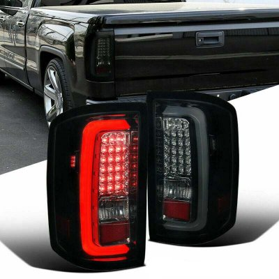GMC Sierra 2500HD 2015-2018 Black Smoked LED Tail Lights