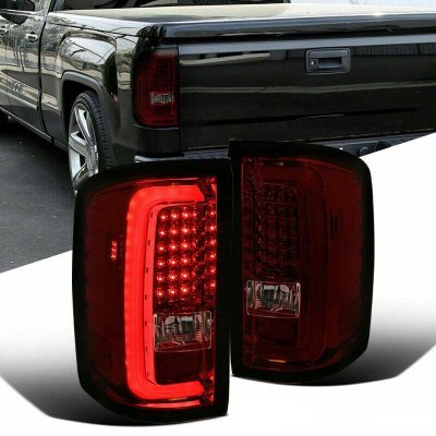 GMC Sierra 2500HD 2015-2018 Red Smoked LED Tail Lights