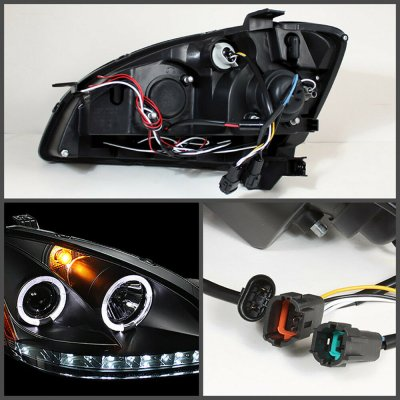 Nissan Altima 2002-2004 Black Dual Halo Projector Headlights with LED