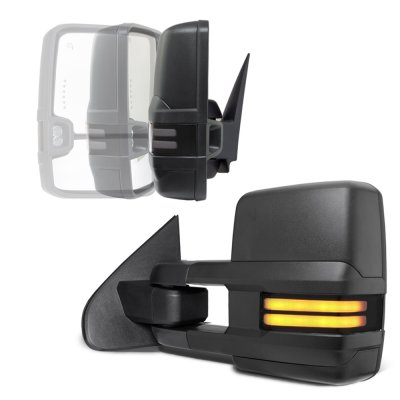 Chevy Silverado 2014-2018 Power Folding Towing Mirrors Smoked Tube Lights