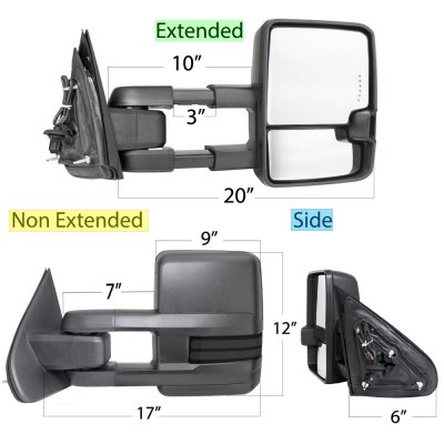 GMC Sierra 2014-2018 Power Folding Towing Mirrors Smoked Tube Lights