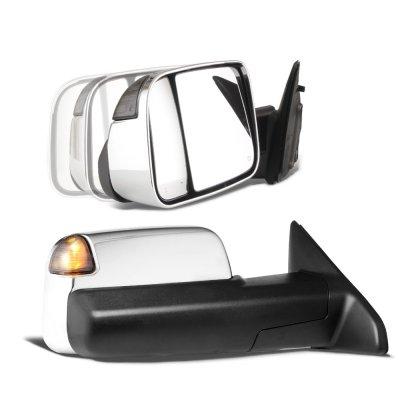 Dodge Ram 1500 2009-2018 Chrome Power Folding Towing Mirrors Smoked LED Signal Heated