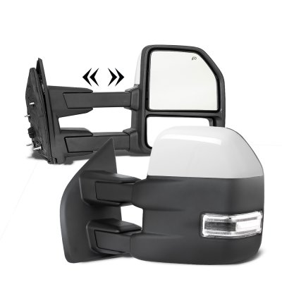 Ford F250 Super Duty 2017-2021 White Power Heated Towing Mirrors LED Lights