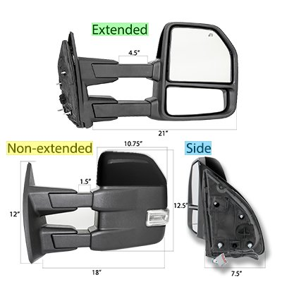 Ford Excursion 1999-2002 Glossy Black Towing Mirrors LED Lights Power Heated