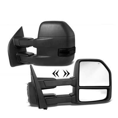 Ford F150 2015-2020 Towing Mirrors Power Heated Smoked LED Signal Puddle Lights 8 Pins