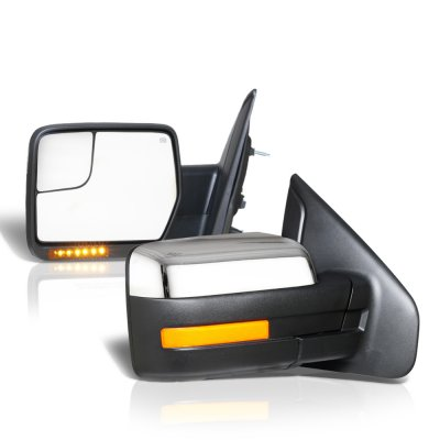 Ford F150 2007-2014 Chrome Power Heated Side Mirrors LED Signal Spotter Glass