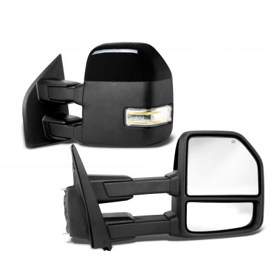 Ford F250 Super Duty 2017-2021 Glossy Black Power Heated Towing Mirrors LED Lights