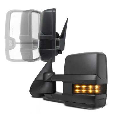 GMC Sierra 1999-2002 Power Folding Towing Mirrors Smoked LED Lights