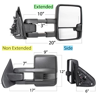 GMC Sierra 1999-2002 Power Folding Towing Mirrors Smoked LED Lights