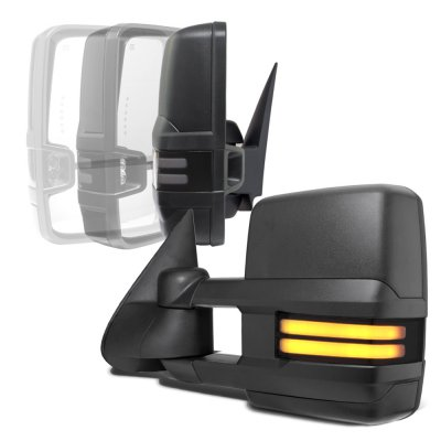 Chevy Silverado 1999-2002 Power Folding Towing Mirrors Smoked Tube LED Lights