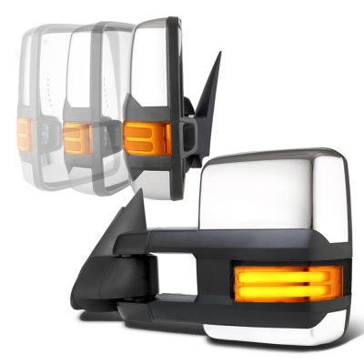 Chevy Silverado 1999-2002 Chrome Power Folding Towing Mirrors Tube LED Lights