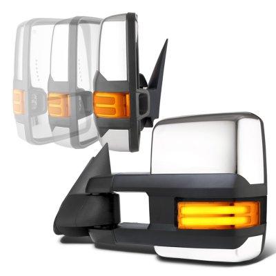 GMC Sierra 1999-2002 Chrome Power Folding Towing Mirrors Tube LED Lights