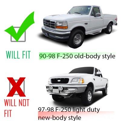Ford F250 1992-1996 Black Headlights and Bumper Lights Set