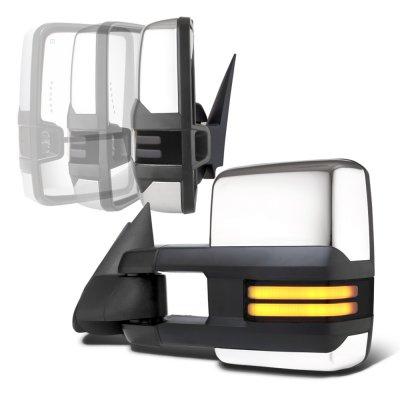 GMC Sierra 2003-2006 Chrome Power Folding Towing Mirrors Smoked Tube LED Lights