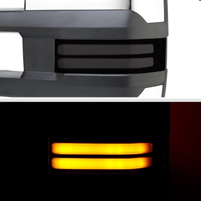 Chevy Silverado 2003-2006 Chrome Power Folding Towing Mirrors Smoked LED DRL Lights