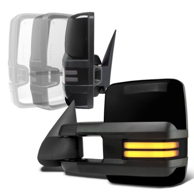 Chevy Silverado 2003-2006 Glossy Black Power Folding Towing Mirrors Smoked Tube LED Lights