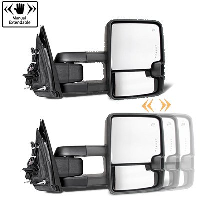 Chevy Silverado 2003-2006 Glossy Black Power Folding Towing Mirrors Smoked LED DRL Lights