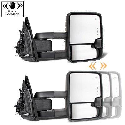 Chevy Silverado 1999-2002 Glossy Black Power Folding Towing Mirrors Smoked LED DRL