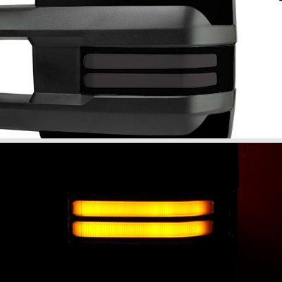 Chevy Silverado 1999-2002 Glossy Black Power Folding Towing Mirrors Smoked Tube LED Lights