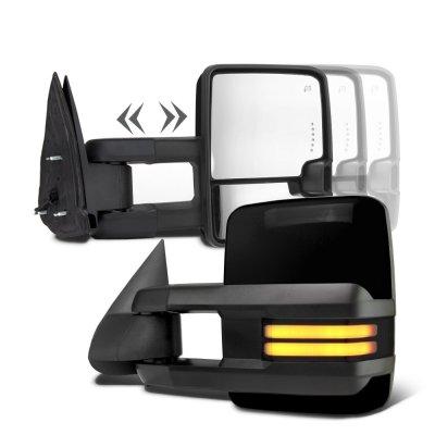 Chevy Silverado 1988-1998 Glossy Black Power Towing Mirrors Smoked Tube LED Lights