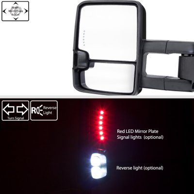 Chevy 2500 Pickup 1988-1998 Glossy Black Power Towing Mirrors Smoked Tube LED Lights