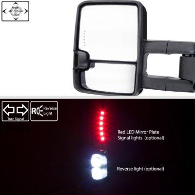 GMC Yukon Denali 1999-2000 Glossy Black Power Towing Mirrors Smoked Tube LED Lights