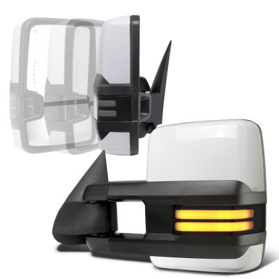 Chevy Silverado 2003-2006 White Power Folding Towing Mirrors Smoked Tube LED Lights
