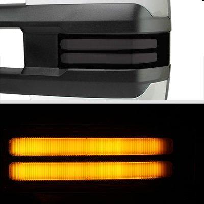 Chevy Silverado 2500HD 2003-2006 White Power Folding Towing Mirrors Smoked Tube LED Lights