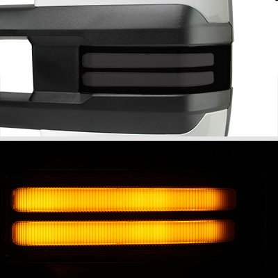 GMC Sierra 1999-2002 White Power Folding Towing Mirrors Smoked Tube LED Lights