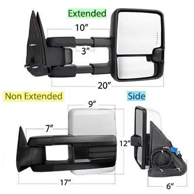 Chevy Silverado 2003-2006 White Power Folding Towing Mirrors Smoked LED DRL Lights