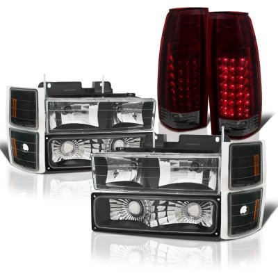 Chevy 2500 Pickup 1988-1993 Black Headlights Tinted LED Tail Lights