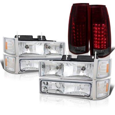 GMC Sierra 1994-1998 Headlights Tinted LED Tail Lights