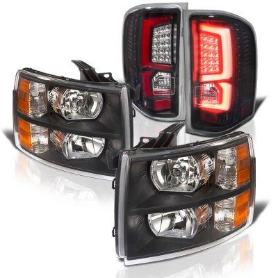 Chevy Silverado 2500HD 2007-2014 Black Headlights and Custom LED Tail Lights